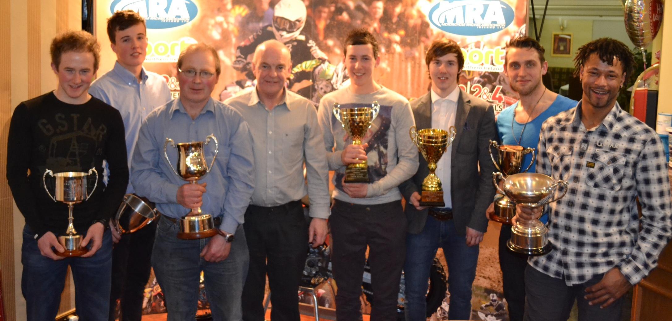 Prize Winners (L to R) David Gorman, Scott Leaney, Terry McCann, Billy McLarnin (Chairman), Callum Meara, Gary Gibson, Donal Teague, Steven White